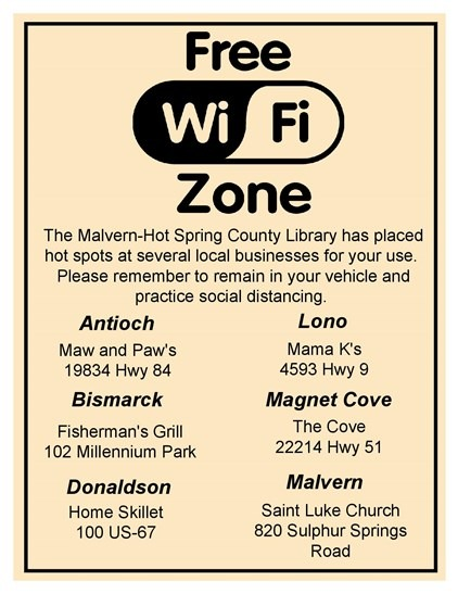 Library WiFi Access Locations in Hot Spring County