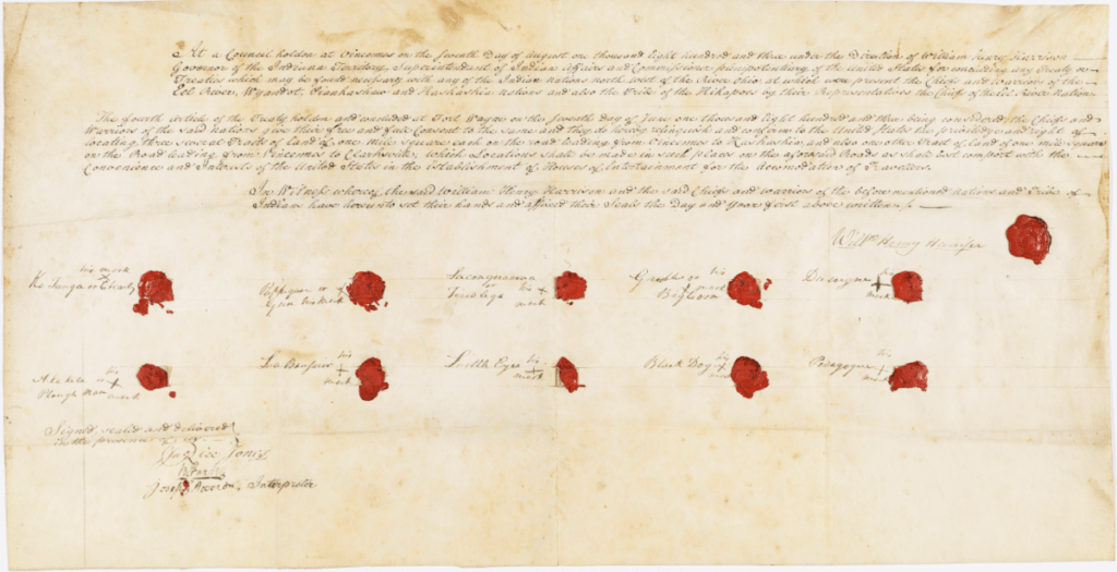 Ratified Indian Treaty 37: Eel River, Wyandot, Piankashaw, Kaskaskia, and Kickapoo - Vincennes, Indiana Territory, August 7, 1803. National Archives Identifier 81145643