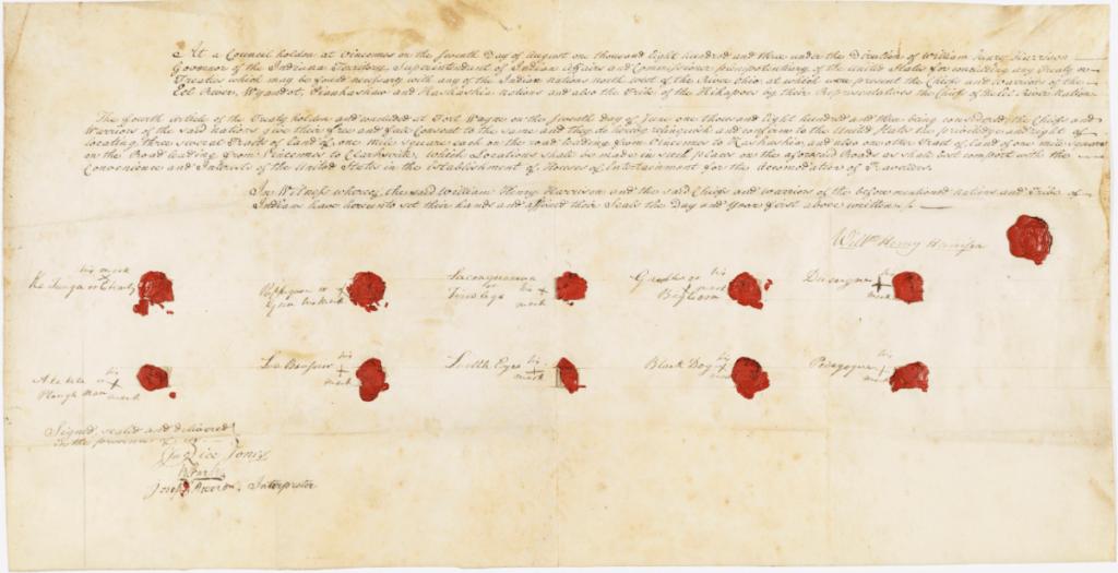 Ratified Indian Treaty 37: Eel River, Wyandot, Piankashaw, Kaskaskia, and Kickapoo - Vincennes, Indiana Territory, August 7, 1803. National Archives Identifier 81145643