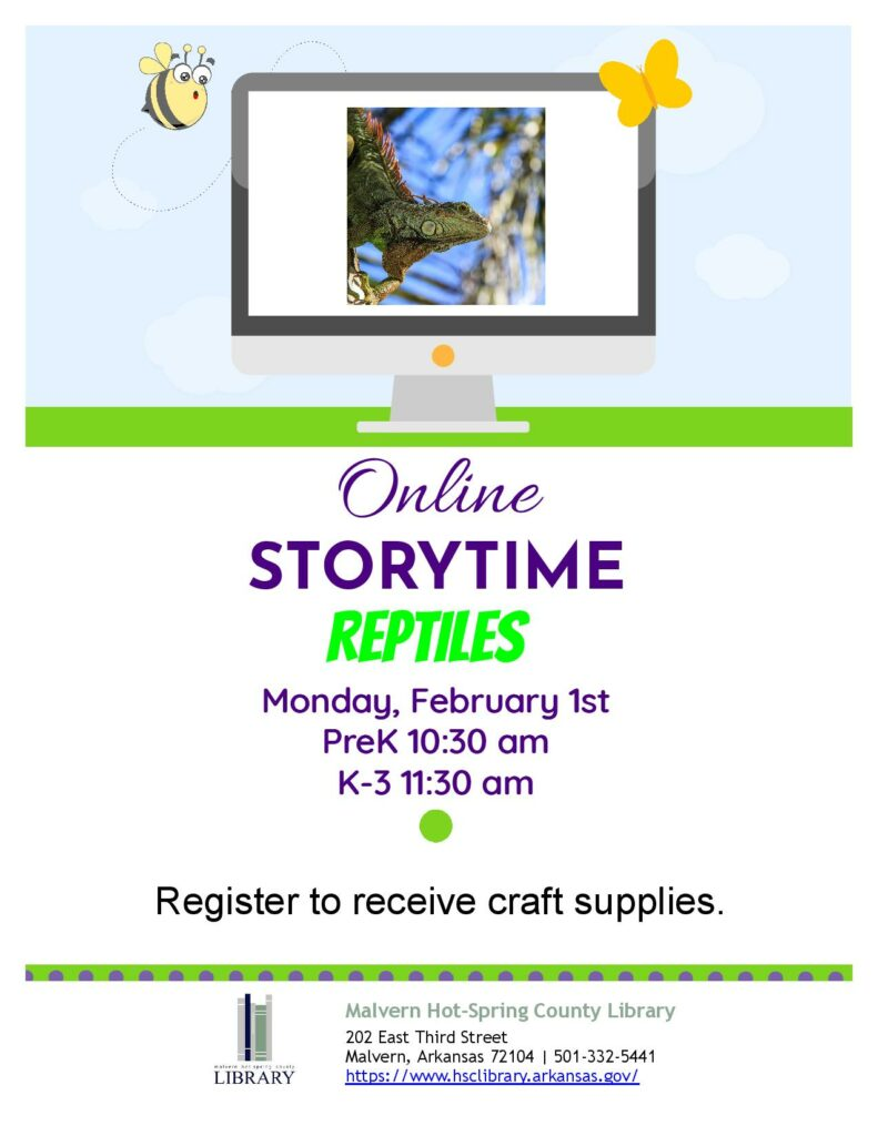 1 February 2021 - Online Storytime - Reptiles