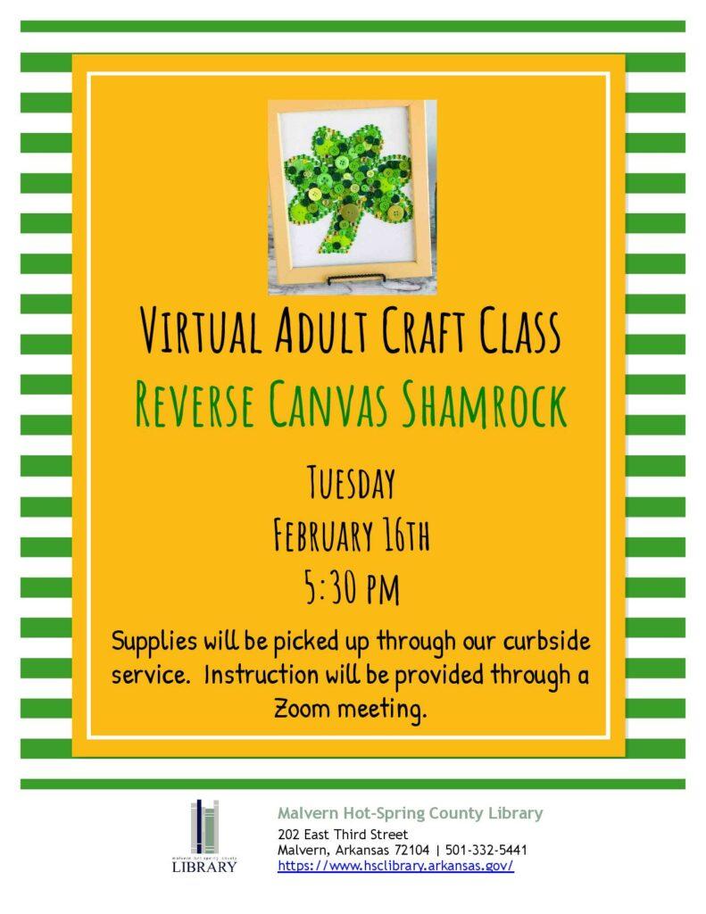 16 February 2021 - Virtual Adult Craft Class - Reverse Canvas Shamrock