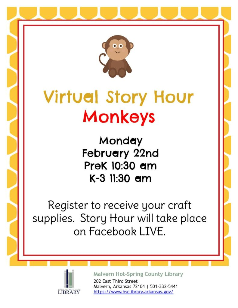 22 February 2021 - Virtual Story Hour - Monkeys